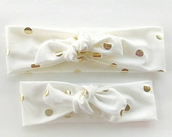 Signature knotted headbands in ivory with gold dots for mommy and daughter - matching mommy and me headbands - top knot stretchy headwrap
