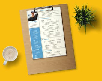 Material Design Resume Template | Microsoft Office PowerPoint + Google Slides formats | 1-page CV | Clear Sections | Easy-to-edit