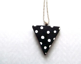 triangle pendant - black and white polka dot