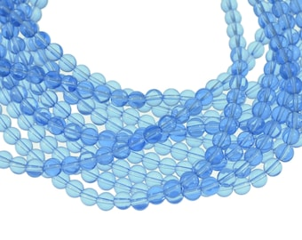 Light Sapphire Blue Clear 8mm Round Glass Beads - Full 16 inch strand - Approximately 54 beads
