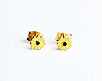 Yellow Daisy Studs, Enamel Studs, Flower Studs, Enamel Flower Studs, Gold Flower Studs, Yellow Studs, Daisy Earrings