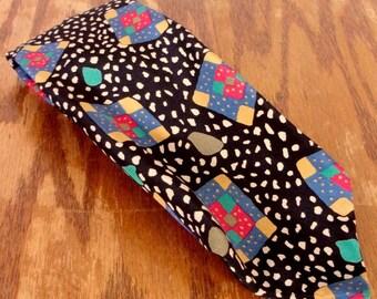 "vtg 80s 90s LOUD Hugo Boss Mens Designer Artsy Colorful Silk Tie Italy 57"" 3.75"""