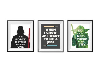 Star Wars Cross Stitch pattern, Darth Vader Pattern, Yoda Cross Stitch, Jedi Cross Stitch, PDF movie boys funny Counted geeky cross stitch