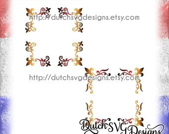 2 Corner border cutting files, in Jpg Png SVG EPS DXF, Cricut svg, Silhouette cut file, fleur de lis svg, corner border svg, french lily svg