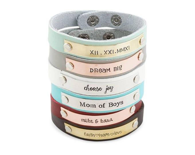 Personalized Leather Cuff - Skinny Leather Cuff- Personalized Bracelet - Gift for mom - Customized Leather Bracelet - Customized Cuff