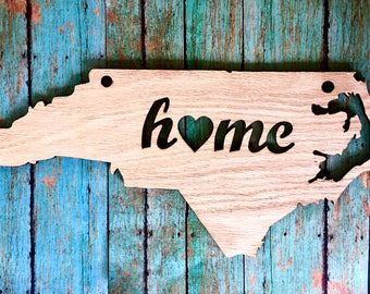 Wooden NC Home Sign