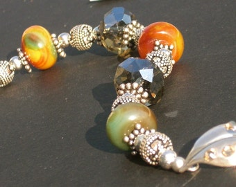 B2614 Sterling silver bracelet with agate stones and crystals