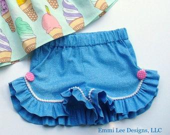Girls Ruffle Shorts,Summer Shorts,Little Girls Shorts,Toddler Shorts,Blue,PomPoms,Toddler Shorts,Size 12MO,18MO,2T,3T,4T,5,6,7,8,9/10