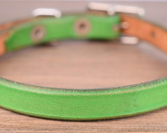 Small Green Leather Dog Collar - Leather Collar for Tiny Dogs - Leather Collar for Small Dogs - Tiny Dog Collar