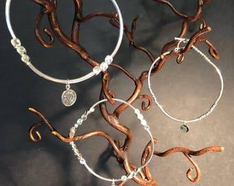 Silver charm bracelets with Chakra charm