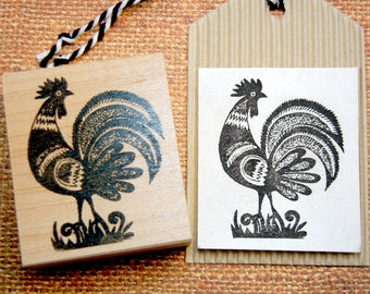 Folk Art Rooster Chicken Rubber Stamp  - Handmade by Blossom Stamps