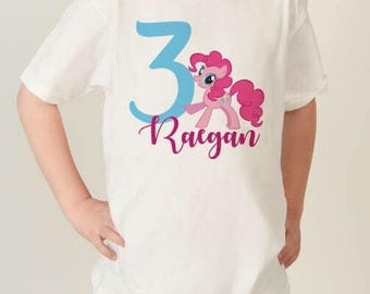 My Little Pony Birthday Shirt, Personalized MLP shirt, Birthday shirt, MLP tshirt, Pinkie pie pony