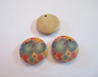 10 Painted Heart Wooden Buttons Sewing Craft Supplies