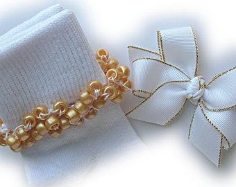 Kathy's Beaded Socks - White with Gold Edge Socks and Hairbow, holiday socks, pony bead socks, gold socks, pearl socks, feather socks