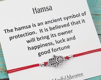 Hamsa Bracelet, Hamsa Hand Jewelry, Yoga Bracelet, Red Cord Hamsa Bracelet, Hamsa Card, Best Friend Bracelet