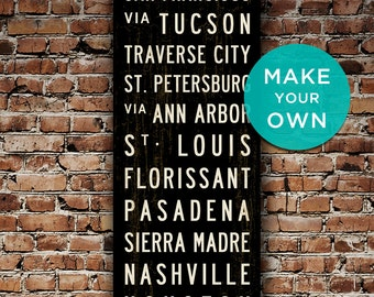 CUSTOM Subway Sign Personalized Wall Art Subway Art Canvas Travel Poster Typography Art Word Art Home Wall Decor Travel Art. 20 x 60 & PERSONALIZED Wall Art Custom City Art Subway Art Rustic