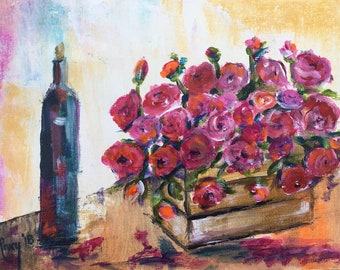 Wine and Pink Roses Original Painting 8 x 6 Acrylic