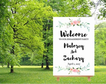 Engagement party sign, welcome to our wedding sign,  watercolor floral sign, engagement welcome sign, large wedding sign, digital download