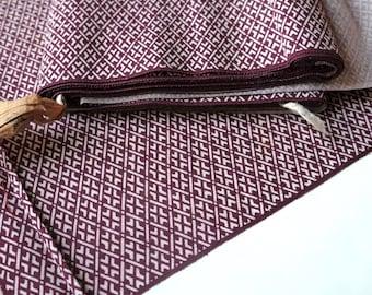 Aubergine and Cream Silk Tsumugi Kimono Fabric unused bolt by the yard 100% Silk OFF the bolt Geometic Rhombus Vintage Japanese Textile