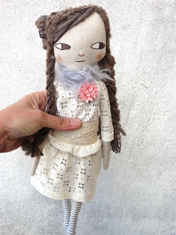 New more stylized model. Art doll in cotton. Mohair-silk, alpaca and wool hair. 16 inches.