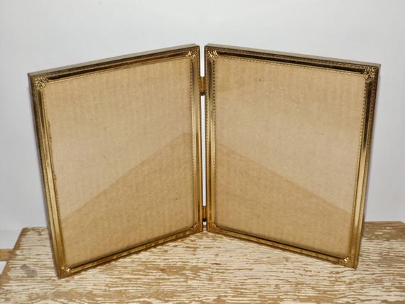 Gold tone folding double picture frame,8x10,glass front,table top ...