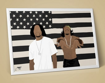 Outkast Big Boi Andre 3000 Illustration Poster Art Print