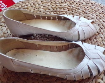 Pure vintage shoe year 60 white ballerina summer lolita pin up size 342