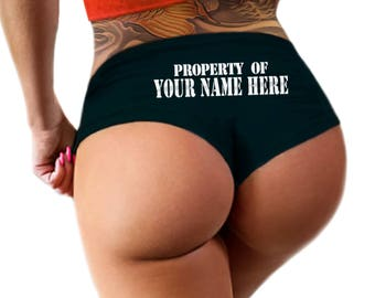 Custom Personalized Property Of Panties Personalized With Your Name, Stencil Style Boyshort Booty Panty, Customized Womens Underwear