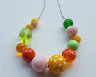 poppycock necklace - vintage lucite - juicy colors - chunky necklace - jeweltone pink orange - polkadot, lime green