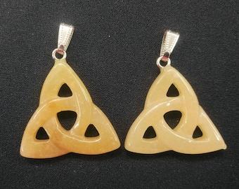 5pcs/lot Natural Yellow Jade Celtic Pendant,Triquetra Pendant,Celtic Triquetra Knot,Trinity Knot Pendant,Mens Pendant- 36x37mm,mens pendant