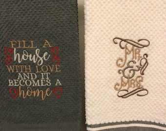 Embroidered Kitchen Towels, Mr & Mrs, Wedding Gift, Housewarming Gift, Dish Towel, Linens, Embroidery Towels, NewlyWeds