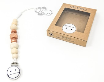 2-in-1 teether & pacifier clip silicone and wood teether Rose Gold Handmade in Montreal Canada
