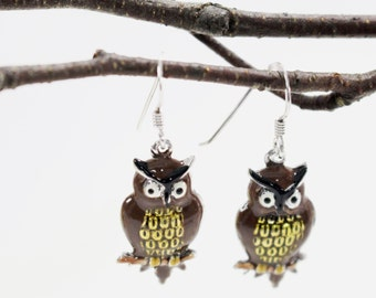 Wise owl sterling silver earrings. Hand painted brown, yellow dangle, drop earrings.Sterling ear wires.