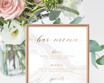 Rose Gold Wedding Bar Menu Sign - Rose Gold Foil White Marble Effect - Copper Wedding Bar Sign - 8x10 Download & Print - Customized For You