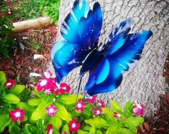 Metal butterfly garden stake, Blue Morpho Butterfly Garden Stake,  Garden Decor,  Metal Garden Art