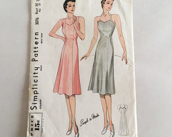 Vintage 1940s Uncut Sewing Pattern Slip Pattern