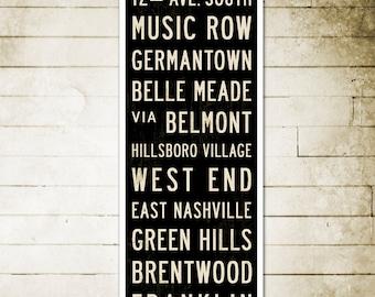 SMALL Nashville Subway Art, Nashville Art, Nashville Poster, Subway Sign Art, Bus Scroll, Industrial Decor, Typography Art, Word Art, 12x36.