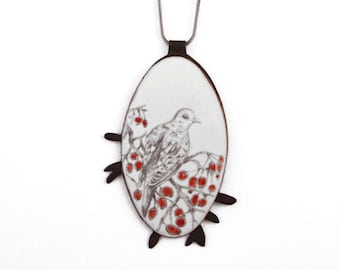 Hand drawn enamel bird necklace, Bird Pendant, spring bird white hand-drawn pendant, bird pendant, Bird watching gift, hand-drawn enamel