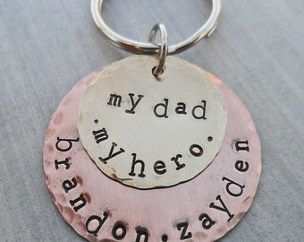 My Dad My Hero Personalized Keychain - Father Dad - Hand-Stamped Custom Names - Father Hero Keychain - Fathers Day Gift -Dad Gift- K 26