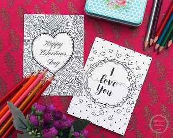 Valentines day cards to color, printable cards, valentines printable coloring, coloring cards, adult coloring valentines, greeting cards