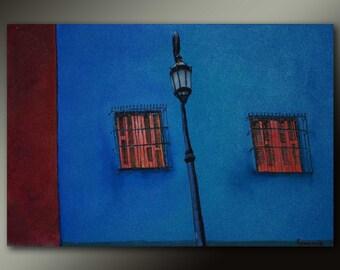 FREE SHIPPING-Orange shutters-Original fine art cityscape oil painting on canvas by EMMANOUELA-Size:60x40cm (23.6''x15.7'')