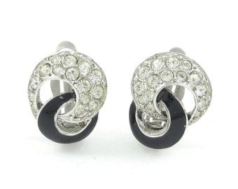 Vintage D'Orlan, Rhinestone Earrings, Black Enamel, Silver Tone, Clip Ons, Signed