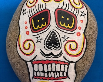 Large Sugar skull hand painted rock, altar rock