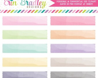 80% OFF SALE Watercolor Digital Washi Tape Clipart Personal & Commercial Use Instant Download Clip Art Set