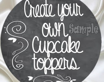 12 Custom Cupcake Toppers Birthday Party Decoration favors Baby Shower cake topper cupcake top Bridal shower Wedding Birthday assembled tags
