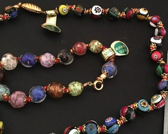 Murano Glass Bead Necklace made in Italy