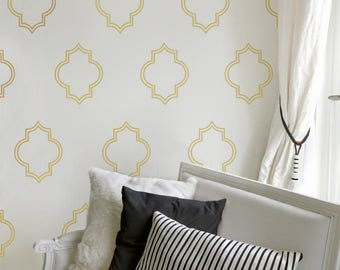 Gold Moroccan Decals, Gold Wall Decal, Living Room Decor, Gold Wall Stickers, Bedroom Decals, Gold Decor, Home Improvement, Gold Decal, 652