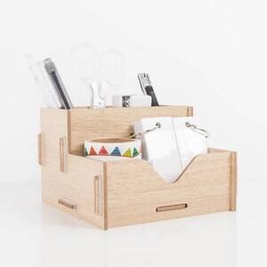 DIY Wood Pen Holder Hand Made Desk Organizer Pen Pot School Office Supplies Pen Stand Creative MDF Wooden Board