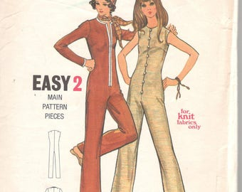 1960s Butterick 6015 Junior Misses Jumpsuit Pattern for Knits Straight Leg Zip Front  Easy Womens Vintage Sewing Pattern Size 7 Bust 32