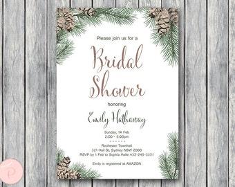Winter Pinecone Wedding Invitation Set, Wedding Invitation, Bridal Shower, Baby Shower, Personalized, Wedding Invitation WS73 TH54